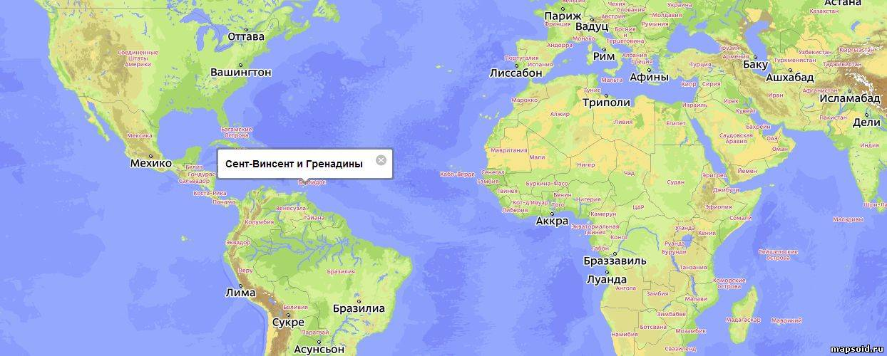 Сент винсент и гренадины на карте мира
