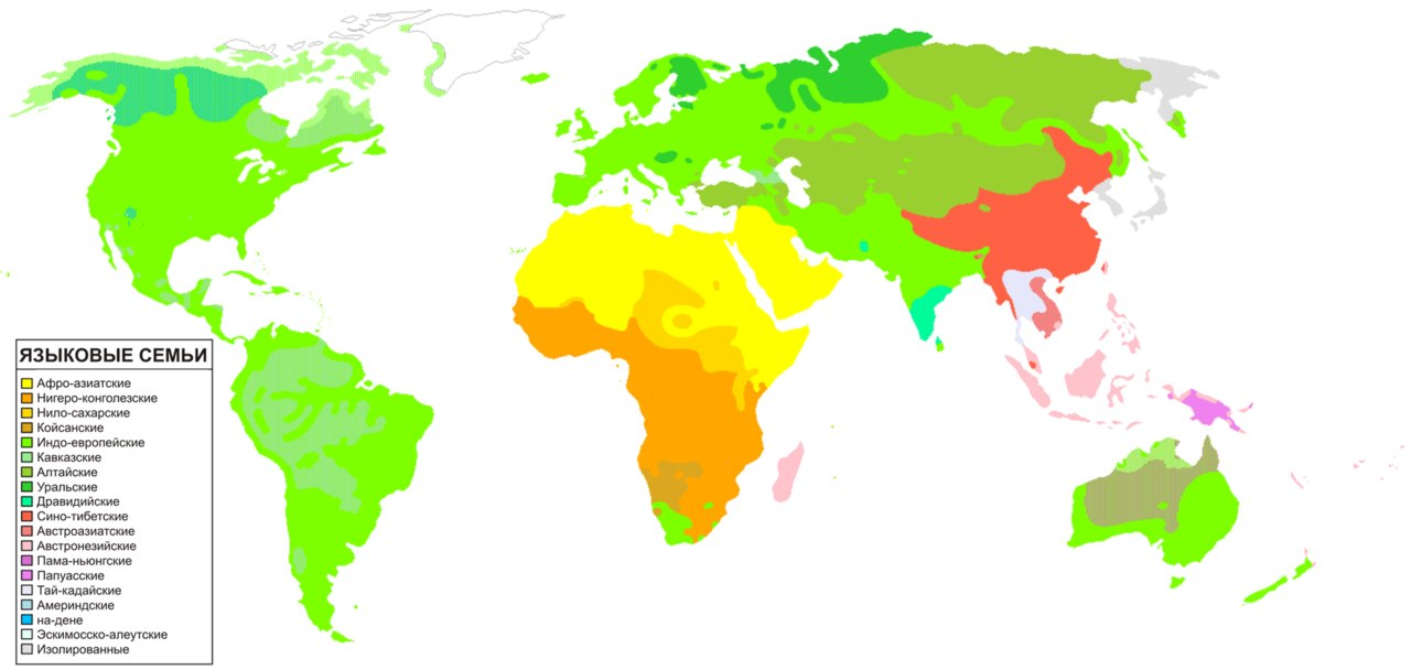 Языковые семьи на карте.