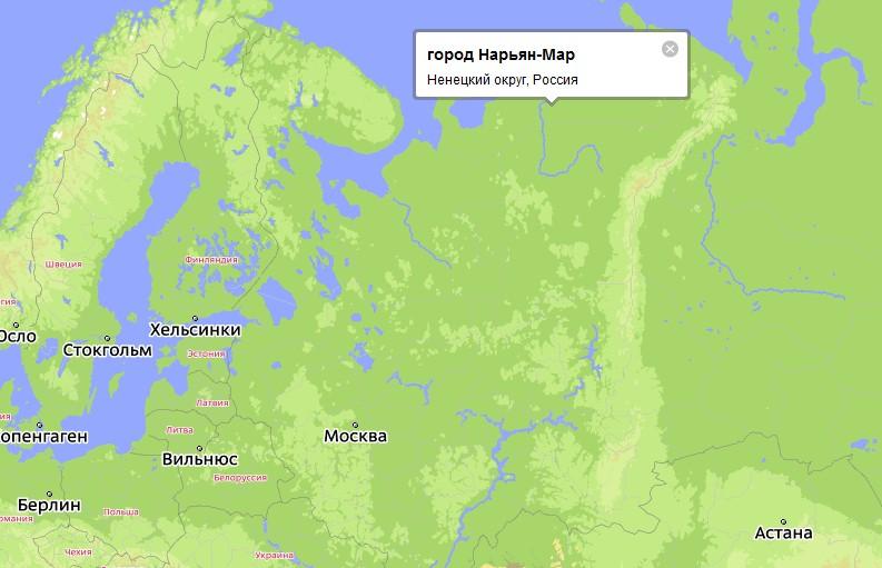 карта россии нарьян мар:
