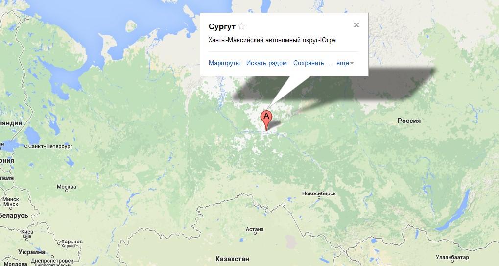 Сургут на карте России