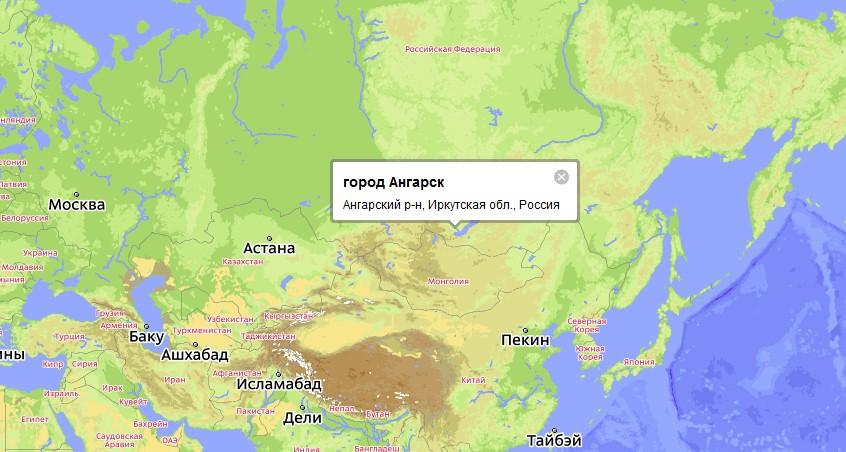 Ангарск расположен в южной
