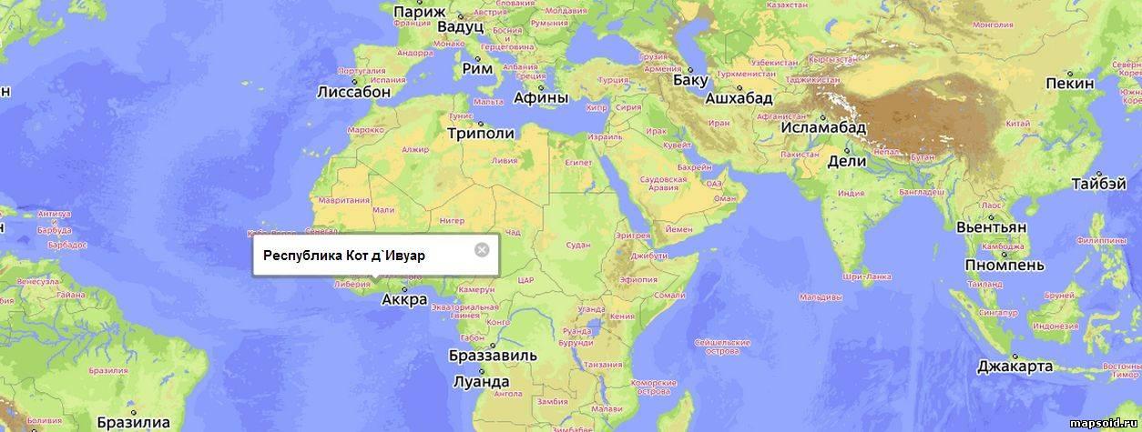 Кот д.ивуар на карте