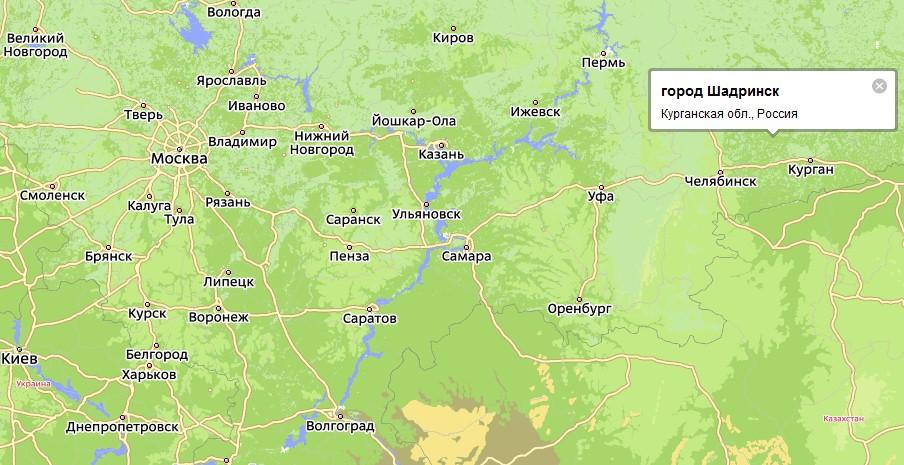 Шадринск на карте России