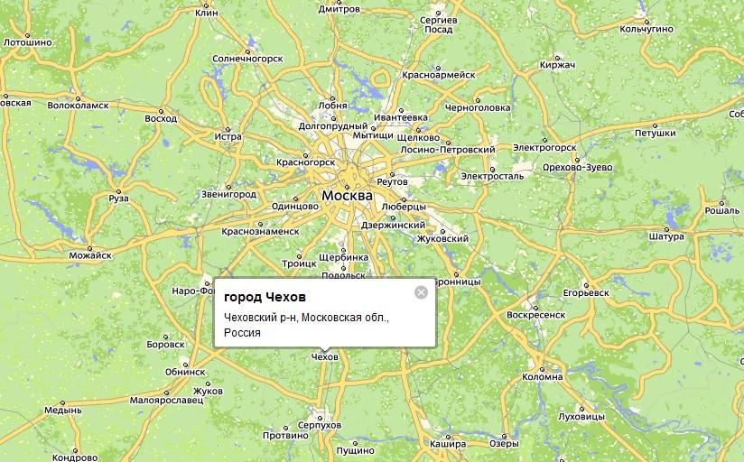 карта г чехова московская область