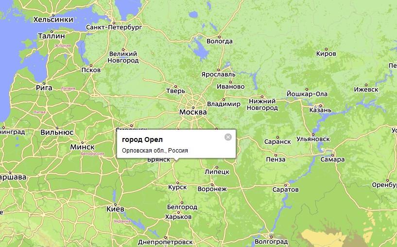 Орел на карте России