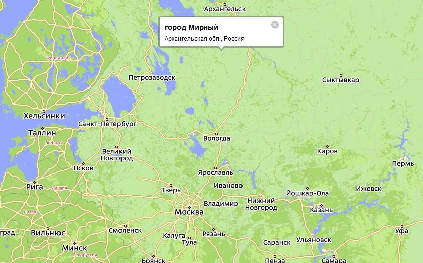 Карта Мирный с улицами и