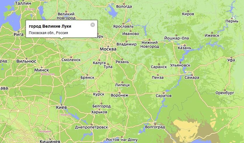 Город расположен в Псковской