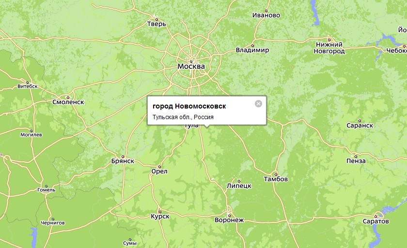 Новомосковск, расположенный в