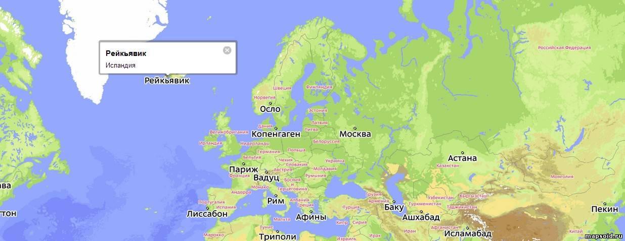 Где находиться остров исландия на карте