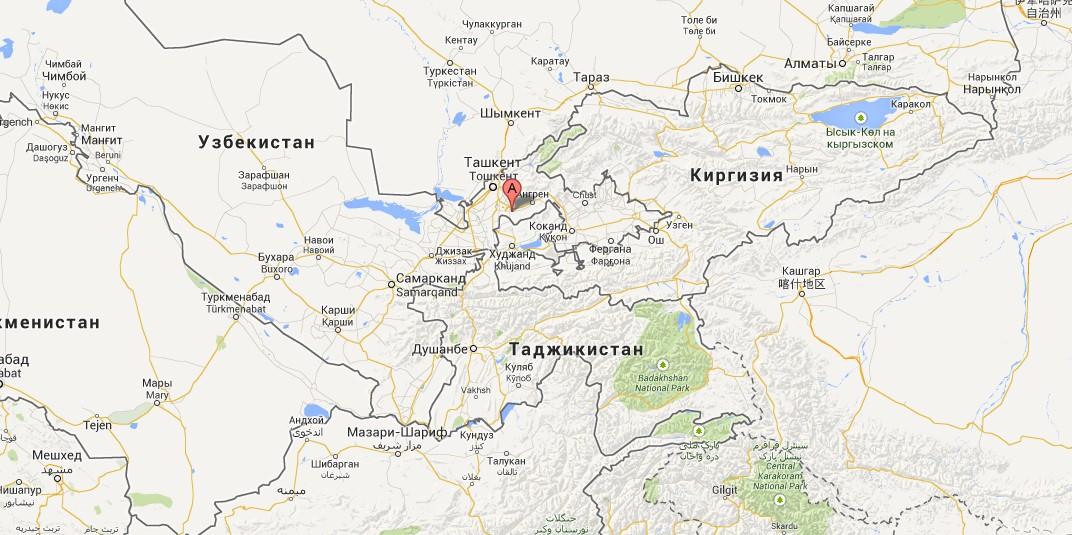 Город Алмалык расположен на