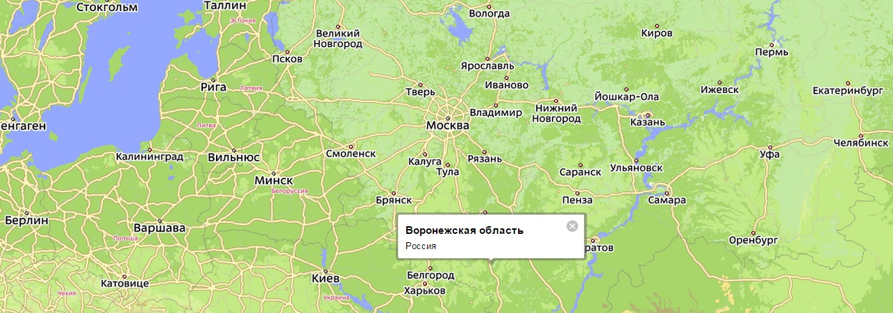 Воронежская область на карте